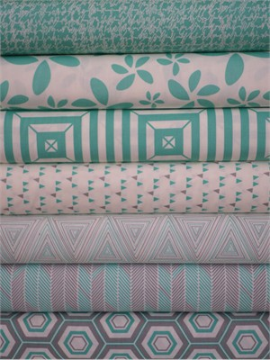 Art Gallery Fabrics, Minimalista, Turquoise in FAT QUARTERS 7 Total