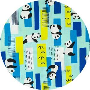 Cosmo Textiles, SHEETING, Bamboo Panda Blue