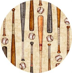Quilting Treasures, Grand Slam, Baseball Bats & Balls Cream