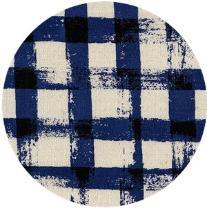 Japanese Import, BARKCLOTH, Painted Gingham Blue