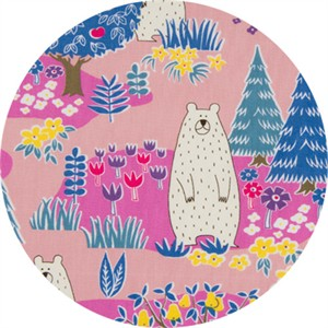 Cosmo Textiles, Forest Delight, Bear Eden Pink