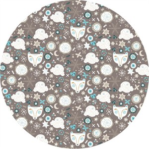Camelot Fabrics, Snow Fall, Bear Faces Taupe