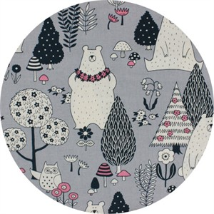 Cosmo Textiles, Bear and Owl Grey