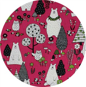 Cosmo Textiles, Bear and Owl Pink