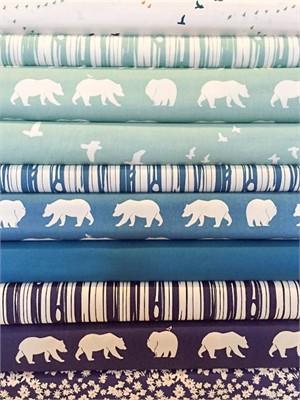Fabricworm Custom Bundle, ORGANIC, Bears at Dusk in FAT QUARTERS 8 Total