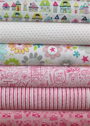 Bella Blvd, Snapshots, Pink in FAT QUARTERS 6 Total