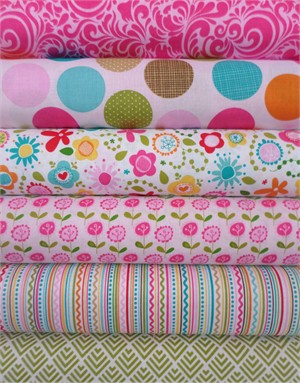 Bella Blvd, Summer Breeze, Pink in FAT QUARTERS 6 Total