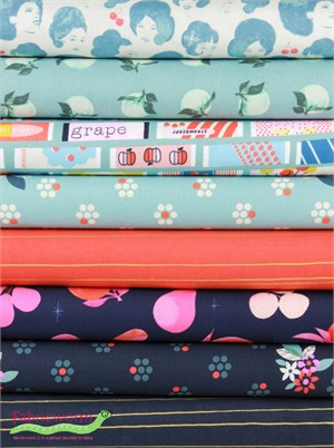 Melody Miller for Cotton and Steel, Fruit Dots, Berry Blue in FAT QUARTERS 8 Total