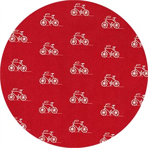 Robert Kaufman, London Calling 6, LAWN, Bikes Red