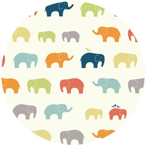 Birch Organic Fabrics, DOUBLE GAUZE, Elephant Family Multi