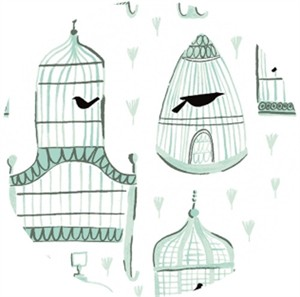 Rae Ritchie for Dear Stella, Foxtail Fern/Perch, Birdcages White