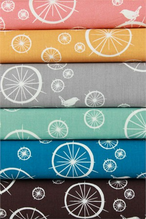 Jay-Cyn Designs for Birch Fabrics, Mod Basics, ORGANIC, Birdie Spokes in FAT QUARTERS 6 Total