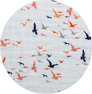 Shannon Fabrics, Embrace, DOUBLE GAUZE, Bird's Eye View Coral