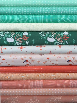Fabricworm Custom Bundle, Blooming Pond in FAT QUARTERS 12 Total (PRE-CUT)
