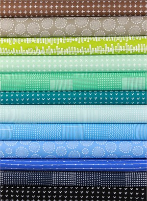 Karen Lewis for Robert Kaufman, Blueberry Park, Summer in FAT QUARTERS 11 Total