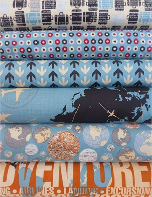 Bo Bunny, Detour, Blue & Gold Bundle in FAT QUARTERS 6 Total