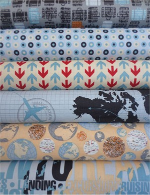 Bo Bunny, Detour, Cream & Blue Bundle in FAT QUARTERS 6 Total