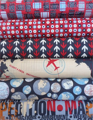 Bo Bunny, Detour, Red & Navy Bundle in FAT QUARTERS 6 Total