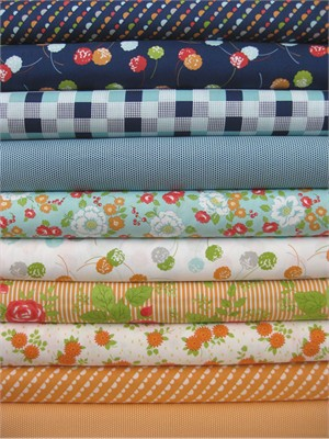 Bonnie & Camille, Happy Go Lucky, Orange in FAT QUARTERS 10 Total