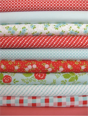Bonnie & Camille, Happy Go Lucky, Red/Aqua in FAT QUARTERS 10 Total