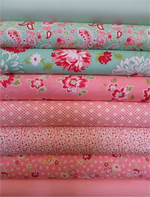 Bonnie & Camille, Scrumptious, Pink/Aqua in FAT QUARTERS 8 Total