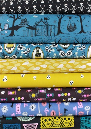 Cotton and Steel, Boo, Night in FAT QUARTERS 8 Total (PRE-CUT)