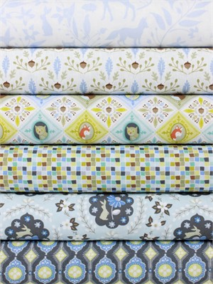 Ana Davis for Blend, Born Wild, Blue in FAT QUARTERS 6 Total
