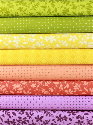 Studio M for Moda, Basic Mixologie Geometrics, Bouquet in FAT QUARTERS 8 Total