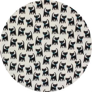 Cosmo Textiles, BRUSHED DOUBLE GAUZE, Bow Tie Kitties Cream