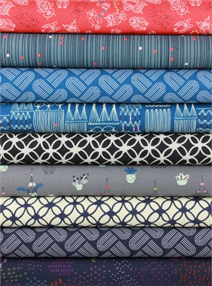 Rashida Coleman-Hale for Cotton and Steel, Macrame, Braided Blues in FAT QUARTERS 8 Total (PRE-CUT)