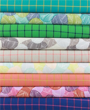 Fabricworm Custom Bundle, ORGANIC, Brightly Wound in FAT QUARTERS 9 Total (PRECUT)