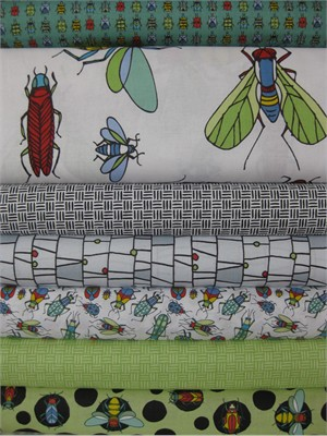 Bugs by Jone Hallmark for Blend, Green in FAT QUARTERS, 7 Total