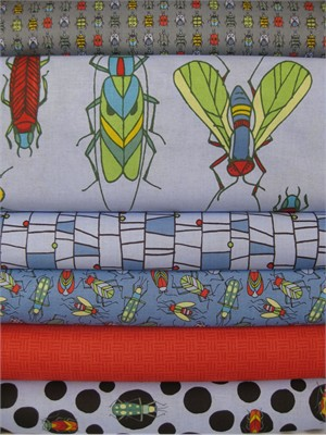 Bugs by Jone Hallmark for Blend, Orange in FAT QUARTERS 6 Total