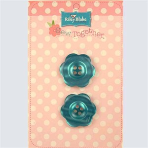 Buttons, Flower, 2 Inch, Teal
