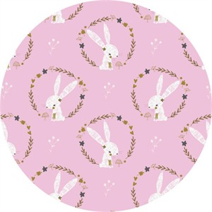 Camelot Fabrics, Hello, My Deer, Bunny Wreaths Pink