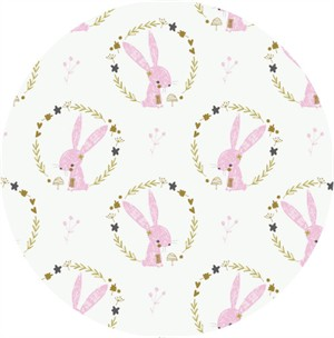 Camelot Fabrics, Hello, My Deer, Bunny Wreaths White