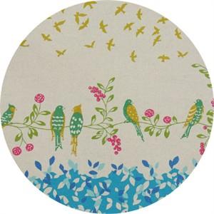 Echino, Birding CANVAS, Birdsong Blue Border Print