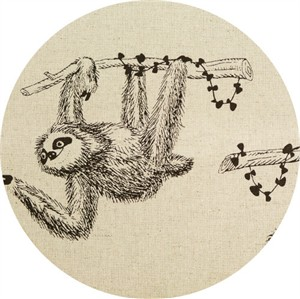 Cosmo Textiles, CANVAS, French Sloths Natural