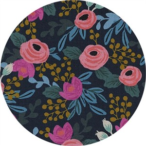 COMING SOON, Rifle Paper Co. for Cotton and Steel, Menagerie, CANVAS, Rosa Navy Metallic