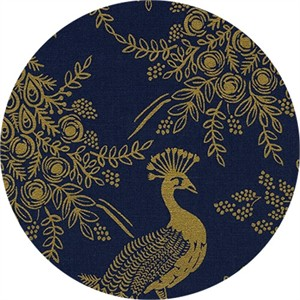 Rifle Paper Co. for Cotton and Steel, Menagerie, CANVAS, Royal Peacock Navy Metallic