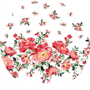 Michael Miller, Bed of Roses, Cabbage Rose Coral (Single Border Print)
