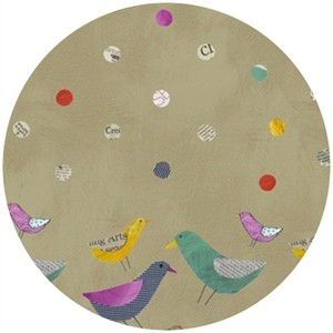 Carrie Bloomston, Collage, Border Birds Tan