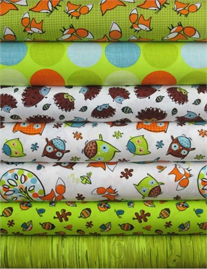 Camelot Cottons, Frolicking Forest, Green/White in FAT QUARTERS 7 Total