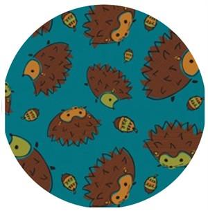 Camelot Cottons, Frolicking Forest, Hedgehog Blue