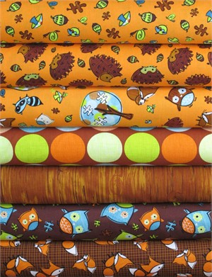 Camelot Cottons, Frolicking Forest, Orange/Brown in FAT QUARTERS 7 Total