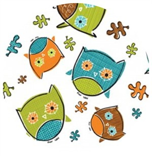 Camelot Cottons, Frolicking Forest, Owls White