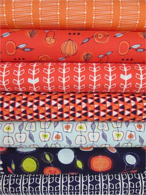 Camelot Cottons, Fruit Stand, Indigo/ Coral in FAT QUARTERS 7 Total