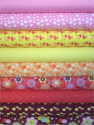 Camelot Cotton, Itty Bitty, Pink/Burgundy in FAT QUARTERS 8 Total