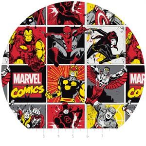 Camelot Fabrics, Marvel, Comic Blocks Red