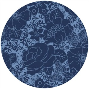 Camelot Cottons, Mint to Be, Floral Damask Navy